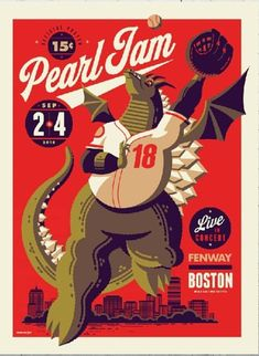 Art Hearty Pearl Jam Poster Ben Brown 2018 Boston Fenway Park Limited First Edition A Great Variety Of Models