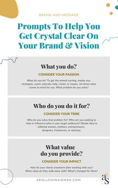 Asks you to help you become clear about your brand and vision for business owners and start-ups - business marketing design Content Marketing Strategy, Small Business Marketing, Business Branding, Marketing Ideas, Media Marketing, Digital Marketing, Business Mission, Business Tips, Online Business