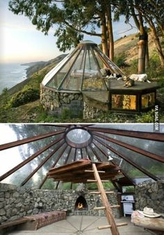 Cliffside tent made of stone and glass
