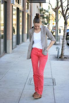 red jeans and beige blazer