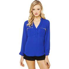 AKIRA Black Label Mandarin Collar Double Zip Pocket Blouse in Royal Blue