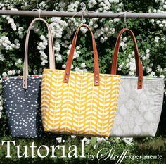 Anleitung für eine einfache Tasche mit Lederhenkeln ... tutorial to sew a simpel tote with leader handles