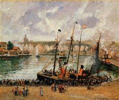 The Inner Harbor, Dpeppe, High Tide, Morning, Grey Weather - Camille Pissarro