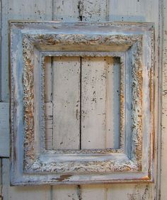 Large frame wall decor vintage ornate wood and gesso white w/ light French farmhouse blue very distressed picture frame anita spero design Distressed Picture Frames, Vintage Photo Frames, Wood Picture Frames, Picture On Wood, Frame Wall Decor, Diy Frame, Frames On Wall, Mirror Painting, Painting Frames