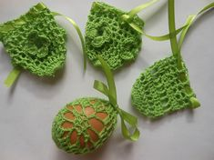 Crochet Easter Egg Cover, Set of 4 Hand Crocheted Easter Eggs Easter Decoration  Hand crocheted with cotton thread with ribbon  You can put inside hard boiled eggs or polystyrene eggs  Color: green