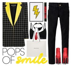 """""""pops of smile"""" by foundlostme ❤ liked on Polyvore featuring Calvin Klein Underwear, Balmain, Balenciaga, Levi's, Kurt Geiger, Givenchy, PopsOfYellow and NYFWYellow"""