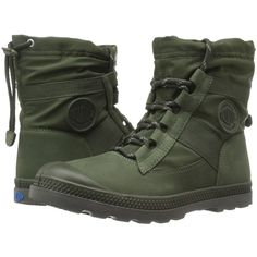 Palladium Pampa Hi Blitz LP (Army Green) Women's Lace-up Boots (2.670.600 VND) ❤ liked on Polyvore featuring shoes, palladium shoes, breathable shoes, strap shoes, laced shoes and leather footwear