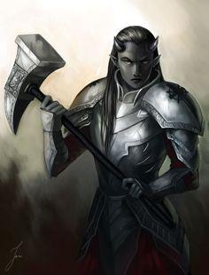 m Tiefling Paladin plate War Hammer arkanis by mir nye
