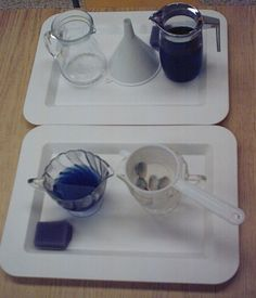 Montessori Pouring Liquids Extension - pouring through a strainer or funnel