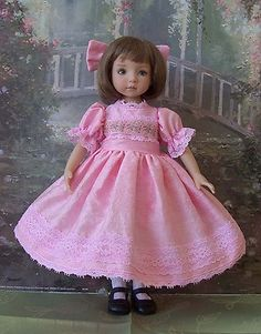 "Cotton Candy Silk Dress, Slip  Hair Bow 4 your Dianna Effner 13"" Little Darling"