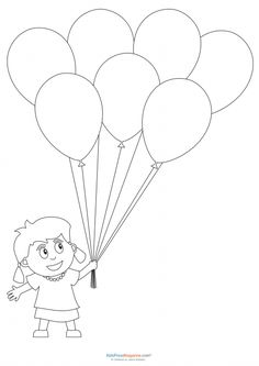 Preschool Coloring Pages – Girl with Balloons Printable Flower Coloring Pages, Shape Coloring Pages, Fish Coloring Page, Fall Coloring Pages, Pattern Coloring Pages, Online Coloring Pages, Coloring Pages For Girls, Disney Coloring Pages, Animal Coloring Pages