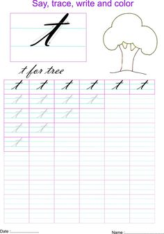 Cursive Small Letters, Cursive T, Cursive Handwriting Practice, Handwriting Analysis, Handwriting Worksheets, Calligraphy Handwriting, Letter T Worksheets, English Worksheets For Kids, Alphabet Writing Practice