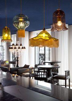 Hand blown glass pendant lights by Rothschild & Bickers, Tassel Light, Opulent optic, vintage light Marcel Wanders Andaz Hotel, Amsterdam