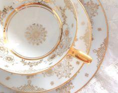 Mid Century JK Decor Carlsbad Western Germany Porcelain Teacup, Saucer and Plate Trio Elegant Tea Party Wedding Gift Inspiration