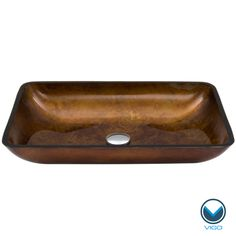 The Vigo glass vessel sink features an elegant blend of brown and amber tones, creating a warm earthy centerpiece for your bath. Handmade with possible unique and slight color variations, so no two si