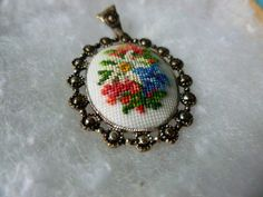 Vintage Cross Stitched Necklace Pendant by yourcarnival on Etsy, $7.00