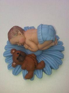Fondant Baby/ baby boy/ fondant baby boy/ baby shower/ cake topper/ cupcake topper/ edible/fondant teddy bear/ boy party favors on Etsy, $16.00