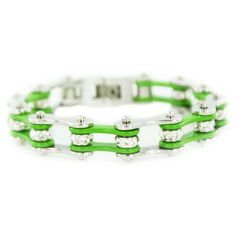 """1/2"""" Wide Two Tone Silver & Green with crystal centers motorcycle chain. Buy Silver & Green Chain Bracelet with Crystals online for the best price of $29.95."""
