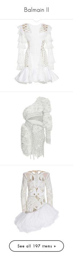 """Balmain II"" by sakuragirl ❤ liked on Polyvore featuring dresses, balmain, white, white ruffle dress, ruffle hem dress, short dresses, flutter-sleeve dresses, ruffle dress, neutral and one shoulder dress"