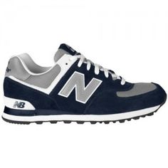 the best attitude dbc97 13b5f Outlets UK New Balance 574 Suede Trainers Mens Navy Blue Grey White On Sale