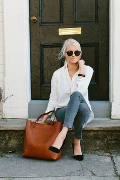 Classic white button down and black heels
