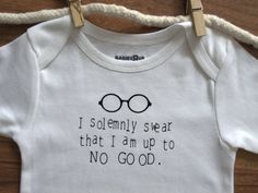 I Solemnly Swear That I am Up To No Good Funny Baby Onesie, Bodysuit, Creeper. $13.99, via Etsy.