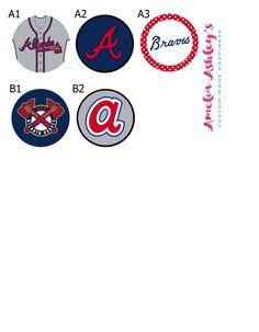 Atlanta braves baseball badge clip - gifts for boyfriend - chistmas gift under 10 - gifts for him - ballgame - mlb - Major League Baseball by AmeliaAshleys on Etsy