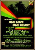 Musical headliners will feature the internationally known artists Midnite, Mykal Rose, and Ziggi Recado. Other performers include: Abja and the Lions of Kush, Junior X, Uprising, United District, King Hopeton, IFA, Pound Game, Arkaingelle and more