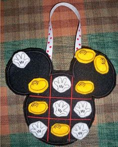 Mister Mouse Head Tic Tac Toe Game IN THE HOOP Machine Applique Embroidery Design, $7.00