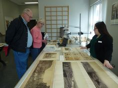 Katrina (right) discusses her project with Museum members visiting the conservation lab during an open house, Behind-the-scenes photograph taken by Museum staff. Butcher Block Cutting Board, Open House, Conservation, Behind The Scenes, Lab, Photograph, Museum, Projects, Photography