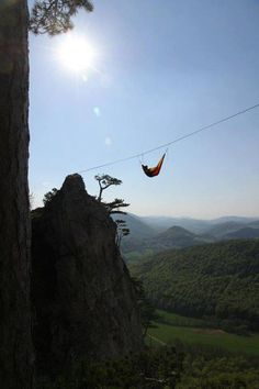 Slackline hammock for those who need a break. I admire anyone who could set this up while slacklining ;)