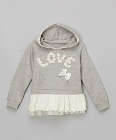 Look at this Gray Lace 'Love' Skirted Hoodie - Infant, Toddler & Girls on #zulily today!