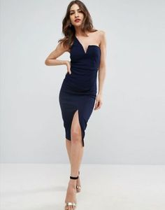 ASOS Textured One Shoulder V Bone Midi Dress