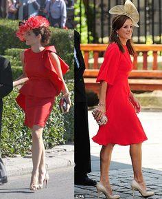 vestido rojo invitada boda y tocado