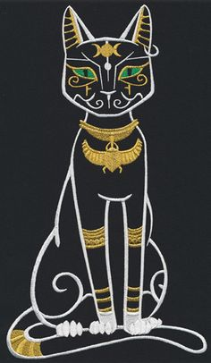 This ancient Egyptian cat goddess was known for her prowess and represents maternal instincts. Stitch in gold thread for a regal look!