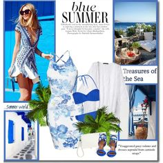 How To Wear Blue summer!! Outfit Idea 2017 - Fashion Trends Ready To Wear For Plus Size, Curvy Women Over 20, 30, 40, 50