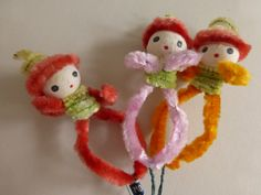 Vintage Spun Cotton Head Chenille Bodied Ornament Picks by papertales on Etsy
