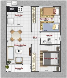 2 Bedroom House Plans, Dream House Plans, Small House Plans, House Floor Plans, Layouts Casa, House Layouts, Small House Layout, Diy Projects Plans, Floor Plan Layout