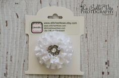White Satin Bow White Rhinestone Flower Baby by Stitched4Ewe, $5.50
