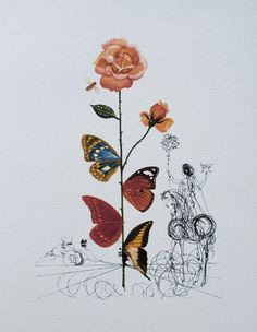 Salvador Dali Tattoo, Salvador Dali Kunst, Salvador Dali Paintings, Salvador Dali Photography, Pablo Picasso, Moleskine, Butterfly Painting, Butterfly Artwork, Collage Artwork