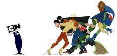 WE'RE NOT GETTING RENEWED!?!?!?!??!?!?!?!? super boy miss Martian Artemis robin aqualad kid flash YJ  by Murrmernator@tumblr