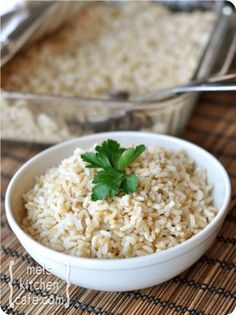 Baked Brown Rice. Easy peasy and tastes good too. My boys will even eat it. My husband not so much. He loves his white rice.