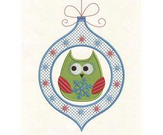INSTANT DOWNLOAD Owl Christmas Embroidery Applique Design CHR009