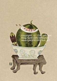 Watermelon Cartoon, Sun Art, Chinoiserie, Wonders Of The World, Still Life, Concept Art, Art Pieces, Illustration, Artwork