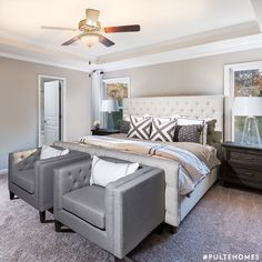 Placing accent chairs at the foot of your bed creates extra seating in a space filled with comfort and calm. | Pulte Homes