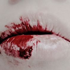Keir's lips after kissing Maggie's wounds.