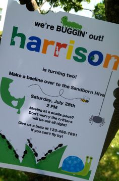 Buggin Out Birthday Invitations Bug Party Personalized And Printed Invites Snail 1500 Via Etsy