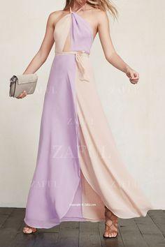 Purple Apricot Halter Color Block Maxi Dress