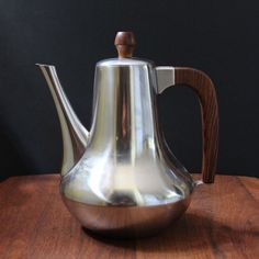 A sleek Danish modern stainless steel coffee pot for our retro Sunday brunch. Sleek and beautiful, this truly is timeless design.