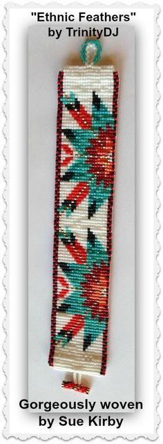 BP-LOOM-001 2016 011 Ethnic Feathers Loom Bracelet por TrinityDJ